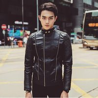Wholesale New products Mens Winter Leather Jackets Fashion Men Diagonal Zipper Slim Black Pu Leather Jackets Man Biker Jacket New2016