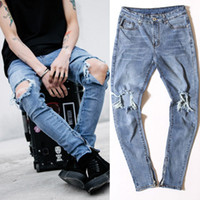 Wholesale FEAR OF GOD High Quality Fashion Men s Pants Jumpsuit Urban Rock Star Distressed Skinny Designer Zipper Ripped Broken Hole Jeans