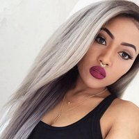 bank beauty - Hot Beauty B Grey Ombre Hair Wig Virgin Hair Full Lace Wig Silver Grey Tone Lace Front Wig For Black Woman