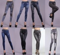 Wholesale Look Punk Casual - Fashion Women Sexy Tattoo Jean Look Leggings Punk Sport Academies Apparel Jeans Free Drop seamless printing Big yards ultra elastic 5