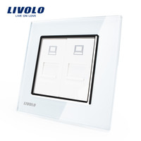 Wholesale Manufacture Livolo White Crystal Glass Panel Gangs Computer Socket Wall Outlet Plug Socket VL C792C