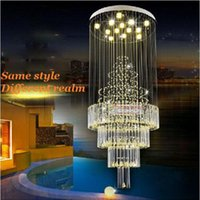 Wholesale Duplex living room lights chandelier hanging wire crystal stair lamp LED light