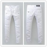 Wholesale 2016 New coming brand balmain jeans for men designer brand denim biker men balmans jeans famous brand high quality true jeans