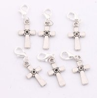 antique christian crosses - 2016 hot x35 mm Antique Silver Christian Cross Dots Charms Lobster Claw Clasp Charm Beads Jewelry DIY C512