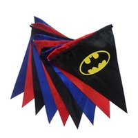 Wholesale 9pcs set Superhero Party Flag Superhero Banner Batman Spiderman Super Hero Triangle Flag Kids Birthday Christmas Party Decoration DHL C1376