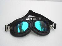 G # 07 gafas de la motocicleta CE Vintage Matt Negro marco UV gafas de color Steampunk Casco de ciclismo Racing gafas de sol de seguridad de desgaste T-01