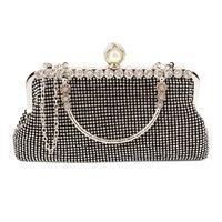 Wholesale Fashion Rhinestone Elegant Evening Bags Handbag Clutch Ladies Purse Bride Bridesmaid Wedding Bags Silver Golden Crossbody Bags