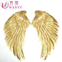 bead embroidery tool - 2016 Parches Bordados Feather Silver Sequins Paste Golden Wings Cloth Clothing Accessories Design Diy Beads Adhesive Patch