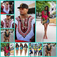 Wholesale Hipster Men African fashion design african traditional print Dashiki T tee Shirt dress african women bazin dress HHA1066