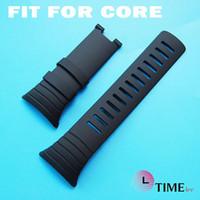 Ver negro núcleo suunto Baratos-Para mayor-Suunto Core 24mm Negro reloj de los hombres de la correa de la correa de silicona impermeable reloj de la banda sin partes metálicas