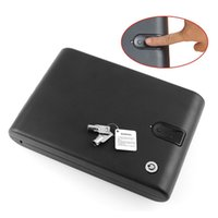Cheap Quality Fingerprint Safe Box Solid Steel Key Gun Vault Valuables Box Cable Portable Hot