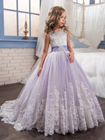 Wholesale Light Purple Ball Gown Flower Girls Dresses For Weddings Appliques Tulle Beading Bow Floor Length Girls Pageant Dresses Christmas Dresses