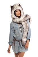 Wholesale Fashionable Winter Animal Spirit Hood Hat Fake Fur Wolf Spirit Hoods