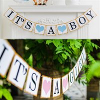 baby boys shower - Iridescent Paper Photo Props Girl Boy Baby Shower Banner Its A Boy Girl Bunting Garland Rustic Chic Party Hanging Decoration