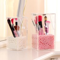 beads for makeup brush holder - Fashion Crystal Acrylic Makeup Brush Storage Box Organizer Case With Beads Cosmetic Box Holder Lipstick Case For Beauty Girl