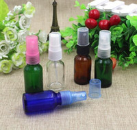 amber glass spray bottles - Factory Price Spray Perfume Bottle Fine Glass Mist Spray Refillable Cosmetic Perfume Atomizer ml Blue Green Amber Transparent