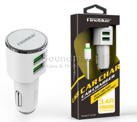 Wholesale Fineblue Ports Dual Multi USB Car Charger Universal Portable Fast Charging for iphone Samsung all Smartphone Tablets retailpackage