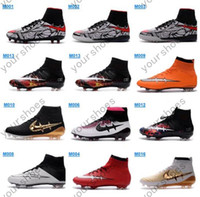 Wholesale New Neymar Men s Mercurial Superfly FG Soccer Boots CR7 Cleats Laser High Quality Men Magista shoes Soccer Shoes Hypervenom Football Shoes