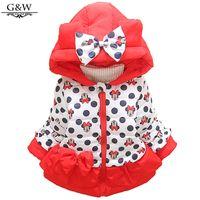 Wholesale New Baby coat winter minnie children jacket dot bow girl coat cartoon warm children outerwear full sleeve Children Coat for girl