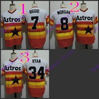 astros authentic jerseys - houston astros craig biggio joe morgan rainbow orange nolan ryan Jerseys Authentic Stitched