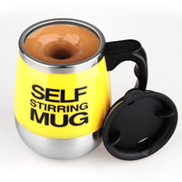 battery powered coffee mug - Battery Electric Power Stainless steel automatic mixing cup coffee cup gift cup creative cup coffee mug milk self stirring mug caneca jarra