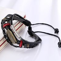 Wholesale Fashion Leaf Design Leather Wrap Bracelet Genuine Handmade Alloy Charms Bracelets Wristbands Mixed Style
