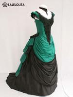 al por mayor noble vestido de novia de manga corta-2016 Noble verde y negro de manga corta vestido de bola de bullicio victoriana elegantes vestidos de novia