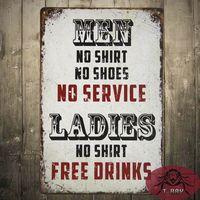 Wholesale Ladies No Shirt Free Drinks Large Metal Sign Funny Retro Tin Plaque Man Cave Bar