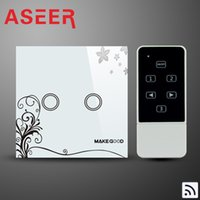 Wholesale Aseer Brand Fashion Design Crystal Waterproof Glass Cover Remote Control Touch Light Switch Gang1Way Mhz frequency Passed CE FCC ROHS