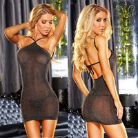 Wholesale European Women s Sexy Lingerie Hot dress sexy underwear sexy costumes slim pajamas See Through Sliver Lingerie sheer mesh black Package