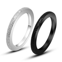 best european bands - European Charms Black Plated Titanium Steel Rings For Women Accessories Jewelry Best Sellers Pressure Sand Stainless Steel Band Ring