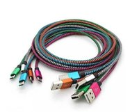 android usb interface - Dual color metal interface nylon data sync mirco usb cable usb charging chargers for Samsung S6 htc and other android phones