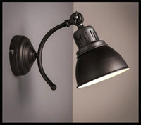 antique wall scones - AC110V V Louis Poulsen scone light E27 plated american retro iron wall lamp Antique industrial black stair lighting