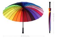 Wholesale Rainbow Color Umbrella Fashion Straight Handlebar Colorful Rainbow Golf Umbrella Parasol K Waterproof Polyester Cloth Umbrellas YZ