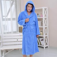 bathrobe toweled - Toweled bathrobes hooded cotton male women s robe autumn and winter waste absorbing thick soft lovers