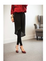 arrival knitted pieces - 2016 Autumn Season New Arrival Sheath Leggings Fake piece Chiffon Skirt button Knitted Backing Pants for Women Casual Plus Sizes Clothing