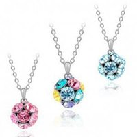ball chain offers - Special offer Fashion jewelry for woman South Korea fashion jewelry Austrian crystal full crystal ball pendent necklace B01