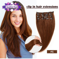 Wholesale clip in sets products clip in human hair extensions quot quot straight Multiple colour A grade human hair extensions
