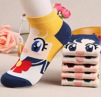 Wholesale 5pairs of socks sailor moon venus jupiter mars mercury chibiusa women s short tube socks cartoon cotton socks Cute sailor moon female socks