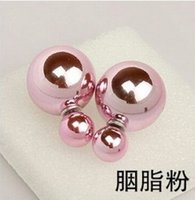 allergy free candy - Han edition fashion double sided hot style pearl earring euramerican popularity joker allergy free size candy color pearl earrings