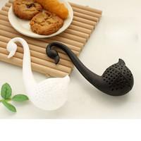 Wholesale Hot Lovely Colander Tea Herb Spice Strainer Infuser Teaspoon Filter Swan Spoon H2010239