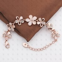 american trade beads - 2016 new style European and American trade jewelry crystal opal jewelry rose gold flower bracelet Creative bracelets for women