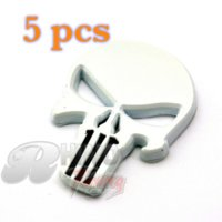 accent metal - 5pc THE Punisher Badge Veloster Accent Eon Tucson Skull Skeleton body D white metal Motorcycle Side Wing Auto Car Emblem
