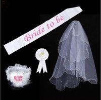 Wholesale 4pcs Bride To Be SET Rosette Badge Sash Garter Veil Hen Night Bachelorette Party Do