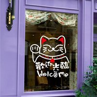 adhesive window signs - Lucky cat Welcome word logo signs store window glass door waterproof wall decorative tile