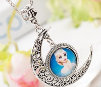 baby moonlight - Frozen Necklace Frozen elsa and Anna Princess Moon Pendant Necklace Necklace moonlight Gemstone Necklace Cartoon Pendants For Baby Girls