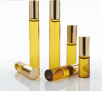 Wholesale Amber ml ml ROLL ON Glass Essential Oil Bottles Perfume bottle stainless steel Roller ball fragrance bottle DHL