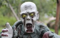 animated zombie - Piece Halloween Massacre Spooky Crawling Zombie Ghost Skull with Light up Eyes Animated Party Prop