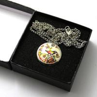 antique enamel box - Fob Pocket Watch Quartz Watch Enamel Lovely Bird reloj de cuarzo With Necklace Chain and Gift Box P595