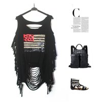 Wholesale 2016 Fashion Street punk female character printing hole tassel sexy backless Top Shirts Women Fashion Clothes